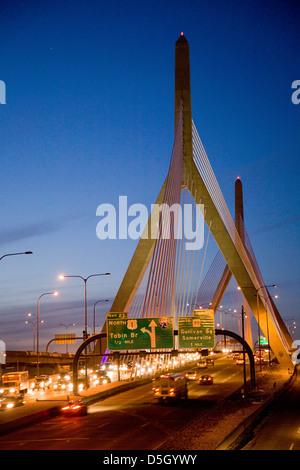 The Leonard P. Zakim Bunker Hill Bridge at dusk, 1432 feet long, inspired by Bunker Hill Monument, Boston, Ma., - Stock Photo
