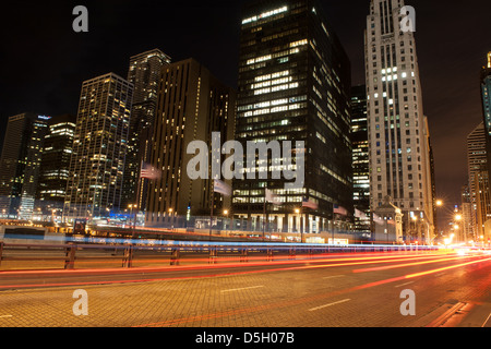 Night view of the Michigan Avenue Bridge, also known as DuSable Bridge, in Chicago - Stock Photo