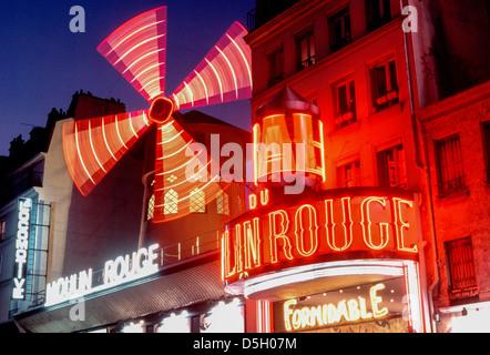 Paris, France, Montmartre Theatre LE MOULIN ROUGE CABARET, Night. Pigalle District Lights Detail at Night - Stock Photo