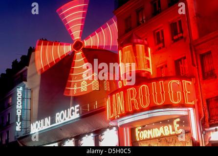 Paris, France, Montmartre Theatre LE MOULIN ROUGE CABARET, Night. - Stock Photo