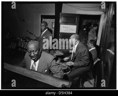 [Portrait of James P. (James Price) Johnson and Freddie Moore, William P. Gottlieb's office party, Jamaica, Queens, - Stock Photo