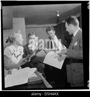 [Portrait of Jerry Wald, Gordon MacRae, Mel Tormé, Marion Hutton, and Jerry Jerome, Saturday Teentimers Show, New - Stock Photo
