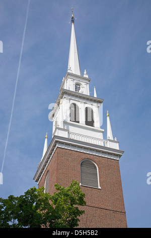The Old North Church is officially known Christ Church in the City Boston on April 18 1775 was the site two lanters - Stock Photo