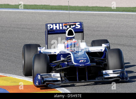 Brazilian F1 driver Rubens Barrichello of Williams during performance tests with the new 2010 car at the race track - Stock Photo