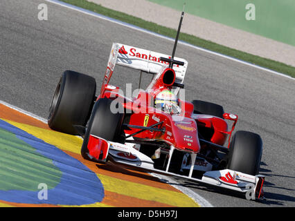 Brazilian F1 driver Felipe Massa of Ferrari during performance tests with the new 2010 car at the race track in - Stock Photo