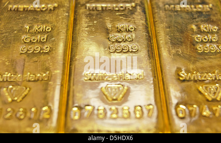 1 Kilogram gold bars - Stock Photo