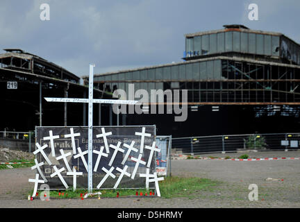 21 crosses have been placed in front of the entrance to the Love Parade grounds in Duisburg,Germany, 19 August - Stock Photo