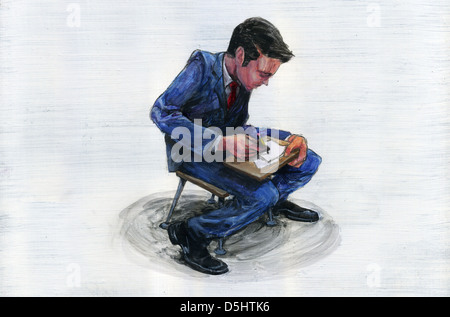 Illustration of young businessman undergoing training - Stock Photo