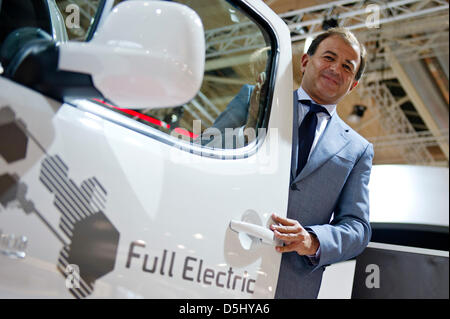 Galician Minister of Economics Javier Guerra stands next to a Citroen Berlingo Electrique ,which is produced in - Stock Photo