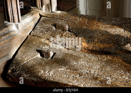 Part of a 15th century pew, St Giles Church, Holme, Newark, Nottinghamshire - Stock Photo