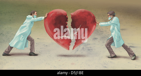 Illustrative image of doctors joining heart representing heart surgery - Stock Photo