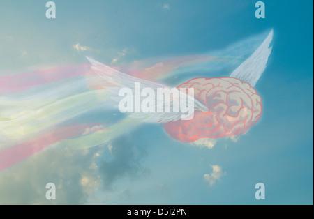 Illustrative image of flying brain representing freedom of thinking - Stock Photo
