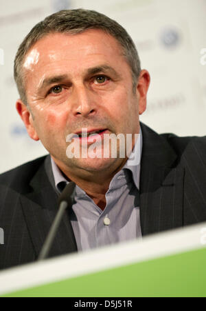 Klaus Allofs speaks at a press conference held at the Volkswagen Arena in Wolfsburg, Germany, 15 November 2012. - Stock Photo