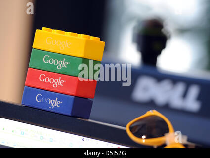 Lego bricks showing the logo of Google are pictured on a table at the Berlin office of the company in Germany, 13 - Stock Photo