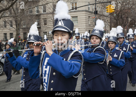 The annual Irish Parade in Park Slope, Brooklyn, NY this year was celebrated on Saint Patrick's Day, March 17th. - Stock Photo