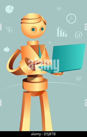 Illustration of robotic businessman using laptop - Stock Photo