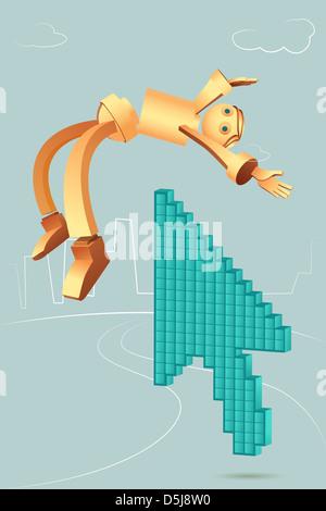 Illustrative image of arrow picking robotic businessman - Stock Photo