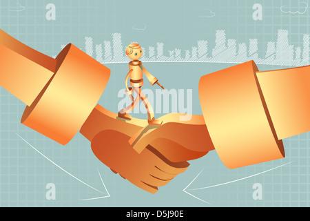 Illustrative image of robotic businessman walking on handshake representing merger - Stock Photo