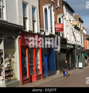 Shops in Abbeygate Street Bury St Edmunds, Suffolk, England - Stock Photo