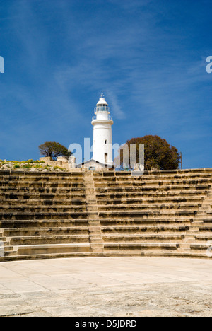 lighthouse and ancient odeon archaeological park paphos cyprus - Stock Photo