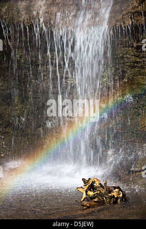 Rainbow formed in spray from waterfall in the Clydach Gorge, Wales, UK - Stock Photo