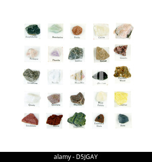 Vintage rock collection with printed labels: Calcite Feldspar Fluorite Gabbro Garnet Limestone Marble Mozarkite - Stock Photo