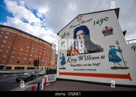 Mural at the north end of Sandy Row, Belfast showing King William III of Orange - Stock Photo