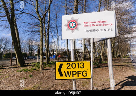 Sign for the 2013 WPFG at the Northern Ireland Fire and Rescue Service training centre - Stock Photo