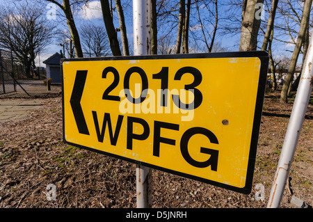Sign for the 2013 World Police and Fire Games at the Northern Ireland Fire and Rescue Service training centre - Stock Photo