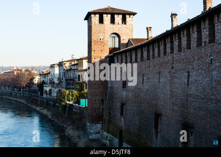 Castelvecchio viewed from Castelvecchio Bridge (Ponte di Castelvecchio). - Stock Photo