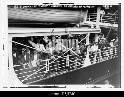 Stewards of OLYMPIC cheering reservists on ADRIATIC (LOC) - Stock Photo