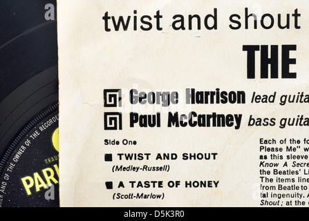Detail from the sleeve of the Beatles Twist and Shout EP - Stock Photo