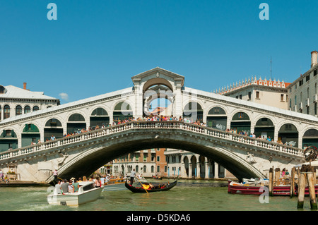 Rialto Bridge over Grand Canal, Venice, Italy - Stock Photo