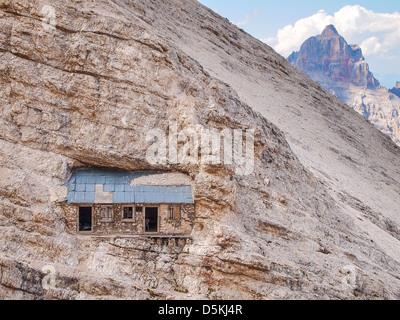 via ferrata Ivano Dibona - bivacco - climbing in Dolomites - Stock Photo