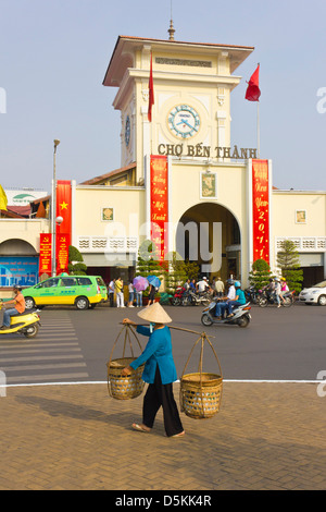 Ben Thanh Market is a landmark in the middle of Ho Chi Minh City  the capital of Vietnam. - Stock Photo
