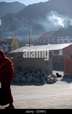 A passing monk and homeless street dog in the mountain town of Leh, Ladakh, Jammu and Kashmir. India. - Stock Photo