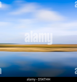 Blurred abstract image of saltmarshes on the North Norfolk coast. - Stock Photo