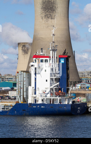 Cargo ship on the river Tees at Haverton Hill near Middlesbrough, Cleveland, England, UK - Stock Photo