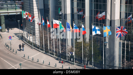 Flags at European Parliament headquarters in Brussels - Stock Photo