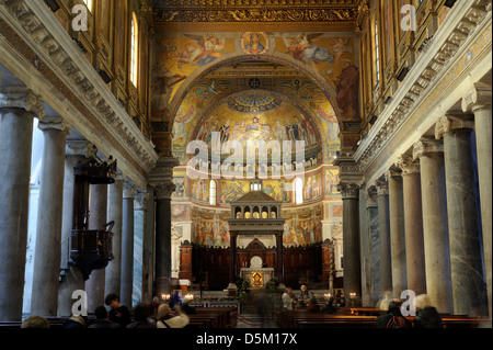 italy, rome, basilica of santa maria in trastevere - Stock Photo