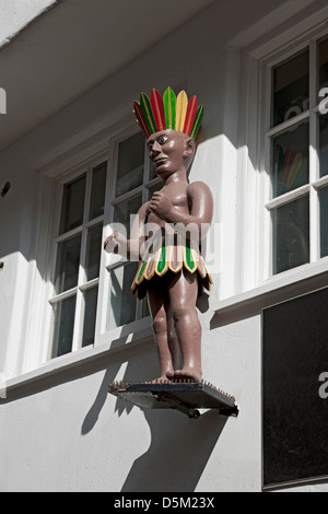 Figure of an American Red Indian above a shop Low Petergate York North Yorkshire England UK United Kingdom GB Great - Stock Photo