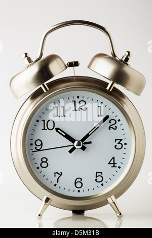 old fashion alarm clock, front view - Stock Photo