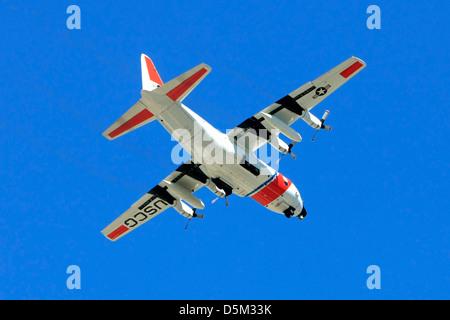 U.S. Coast Guard Lockheed C130 Long-range search aircraft in the skies over Florida - Stock Photo