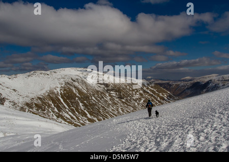 Woman walking with dog in full winter conditions in The Langdales, English Lake District heading towards Bowfell - Stock Photo