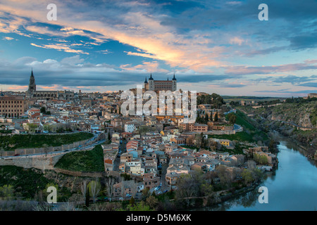 Skyline at sunset, Toledo, Castile La Mancha, Spain - Stock Photo