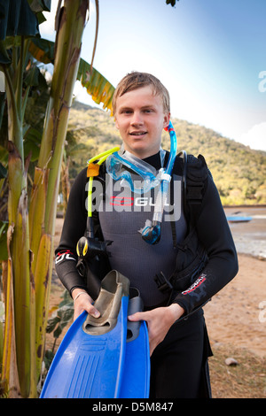Madagascar, Nosy Be, Marodokana, Operation Wallacea scuba diving student - Stock Photo
