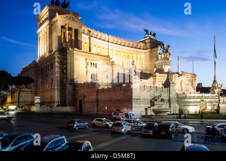 Monumento Nazionale a Vittorio Emanuele II (National Monument to Victor Emmanuel II) at evening. - Stock Photo