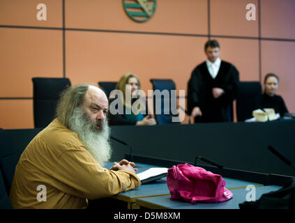 Dresden, Germany. 4th April 2013. Youth pastor from Jena Lothar Koenig takes his seat in the courtroom at the district - Stock Photo
