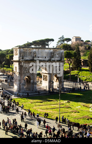 Arch of Constantine (Arco di Constantino) viewed from the Colosseum. - Stock Photo