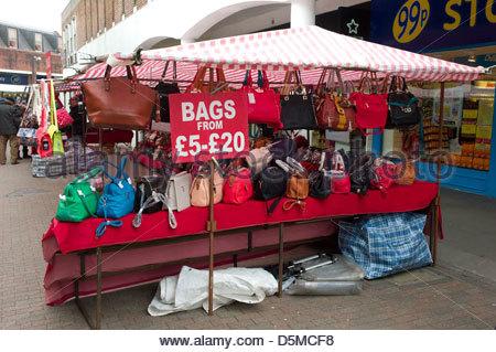 Street market, Carmarthen, Wales, UK - Stock Photo